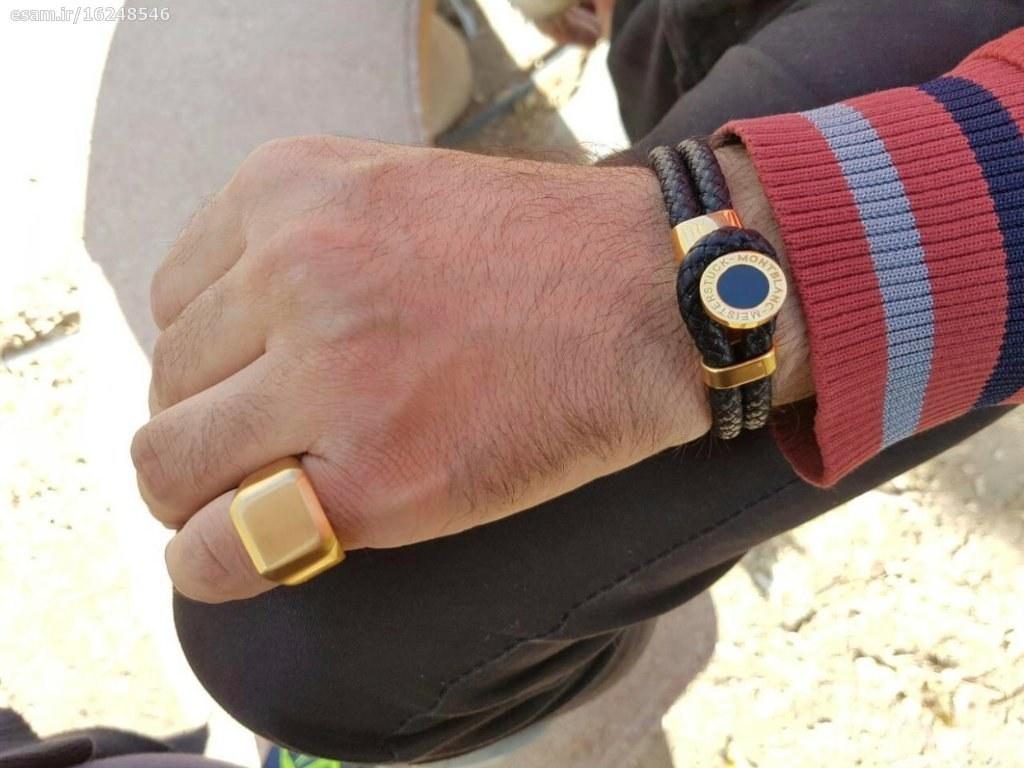 استیل روکش طلا | ست دستبند و انگشتر مونت بلانک با چرم گرد