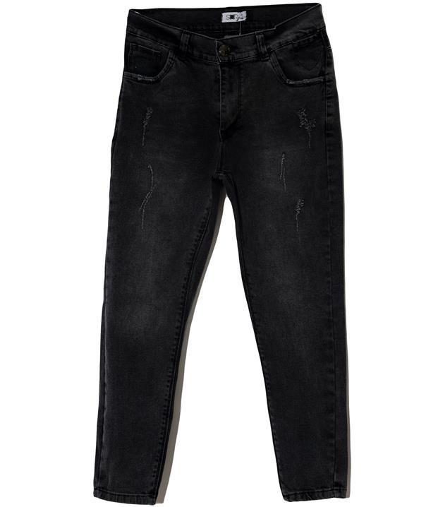 شلوار زنانه جین کوتاه چسبان زغالی Sora