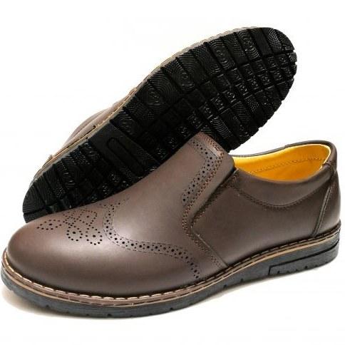 کفش چرم هشترک مردانه رنگ قهوه ای |