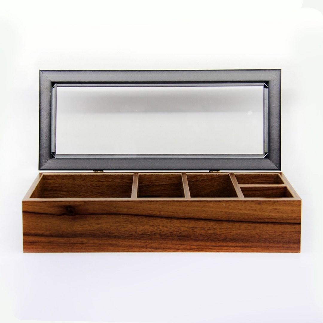 تصویر تی بگ 5 خانه | جعبه تی بگ چوبی کد 0082