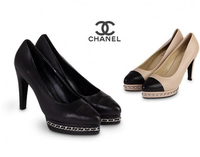 کفش پاشنه دار چرم طبیعی Chanel