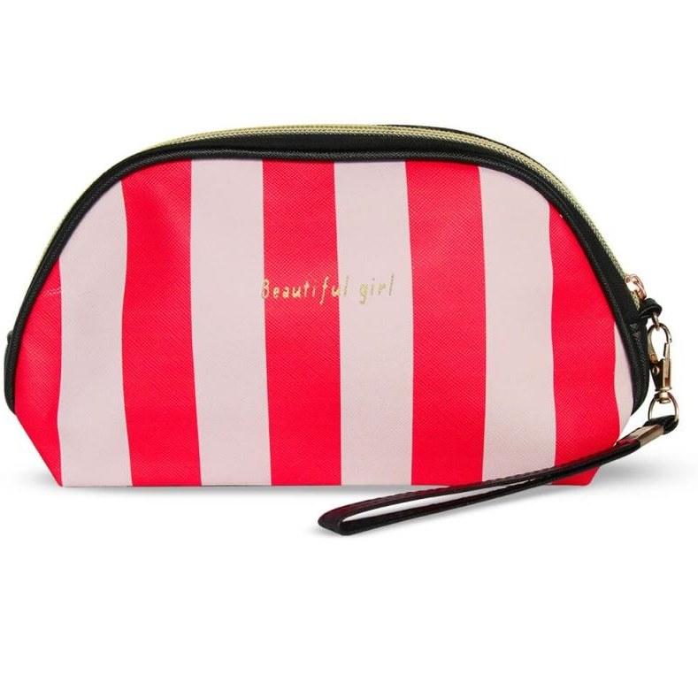 کیف آرایشی بیضی مدل Beautiful Girl-قرمز سفید | Cazmatic Bag Beautiful Girl-Red white
