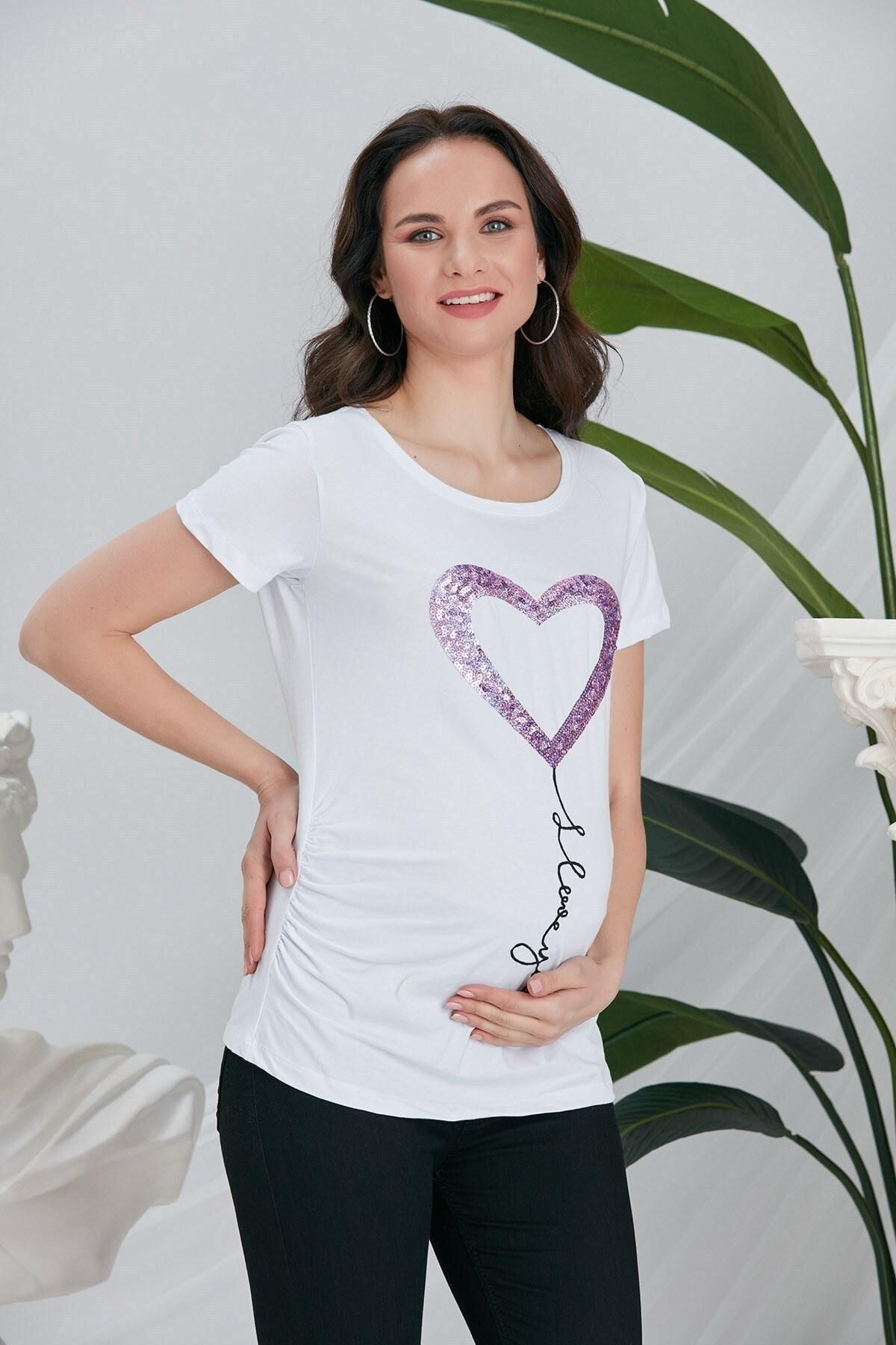 تصویر تیشرت بارداری طرحدار قلب پولکی قلاب دوزی شده سفید برند Görsin Hamile کد 1622470331