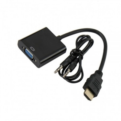 تصویر تبدیل HDMI به VGA سیم دار 20cm با خروجی صدا
