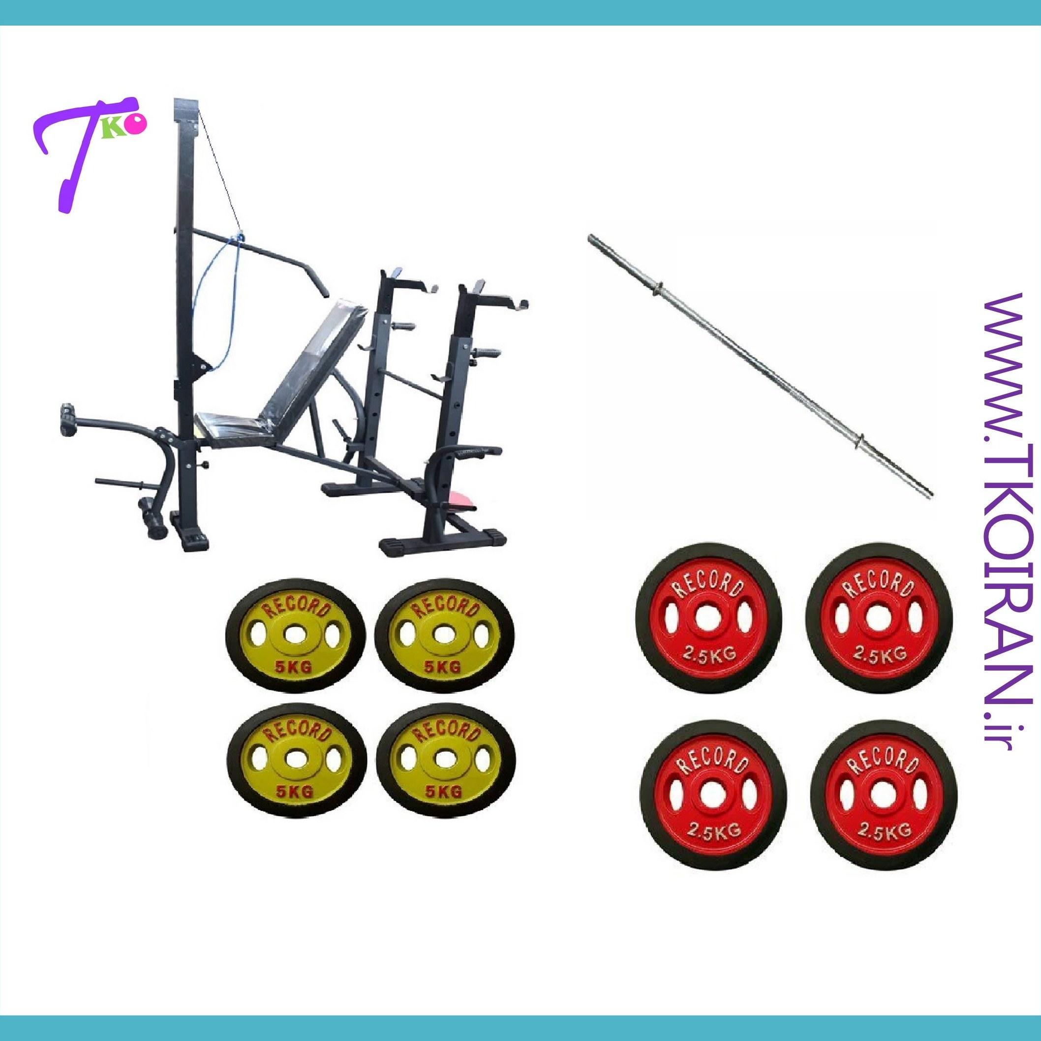 تصویر پکیج بدنسازی تکو 42 (میز 42کاره+میله هالتر+30کیلو وزنه)