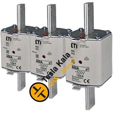 تصویر مجموعه سه تایی فیوز کاردی ETI آمپر 300 تا 400، gG با نشانگر، سایز 2