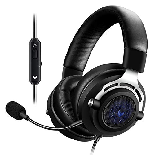 RAPOO Gaming Headset Over-Ear with Detachable mic, Blue LED Backlight, Stereo Lightweight Headphones with Volume Control, Soft Earpads, Compatible with Windows, Mac for PC, Computer-Black