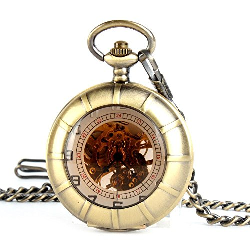 ALIENWOLF Mens Antique Mechanical Pocket Watch with Chain and Case F022
