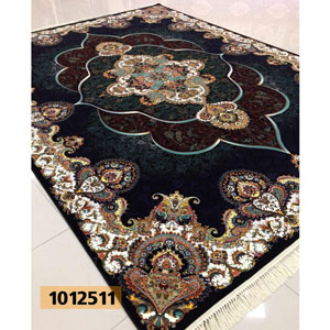 فرش تندیس خاطره کاشان طرح پانیذ زمینه سرمه ای 12 متری کد 1012511