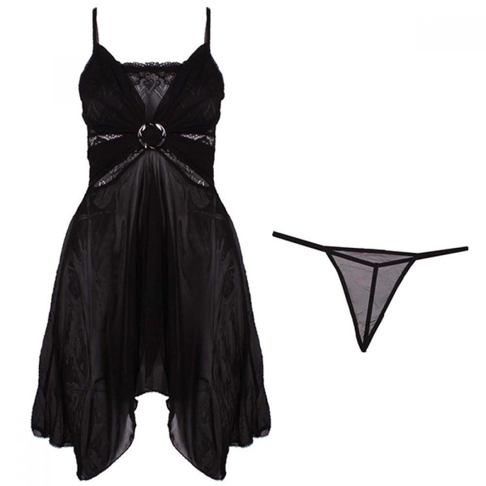 لباس خواب زنانه فانتزی مشکی مدل 600
