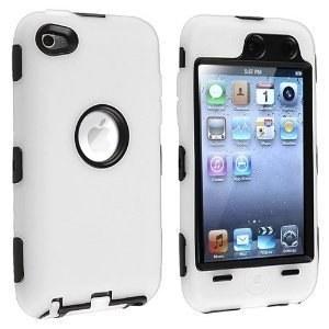 مورد ترکیبی سازگار با Apple iPod touch نسل 4 ، پوست سخت سیاه و سفید