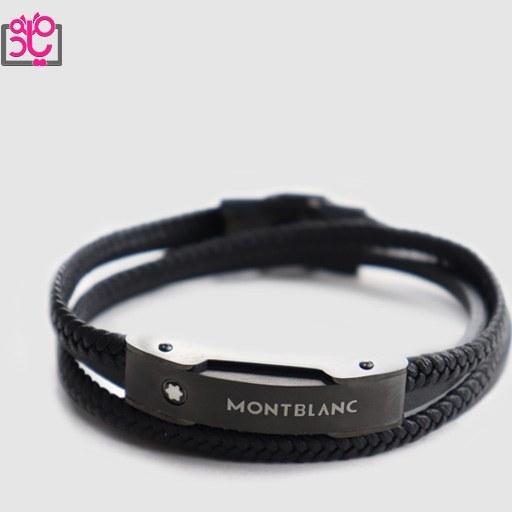 تصویر دستبند چرم طبیعی مردانه مونت بلان