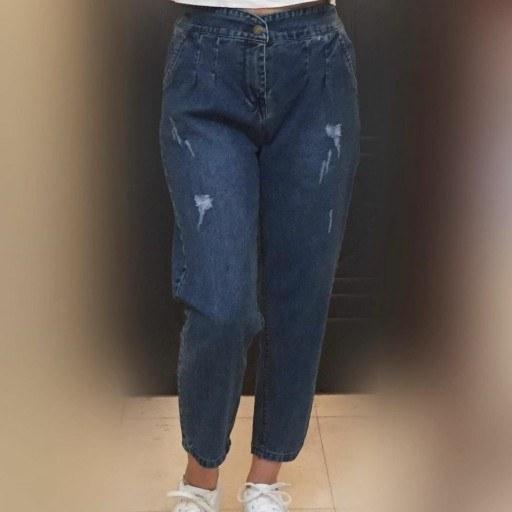 شلوار لی مام استایل و فاق بلند قد 95 آبی فقط سایز38تا  46