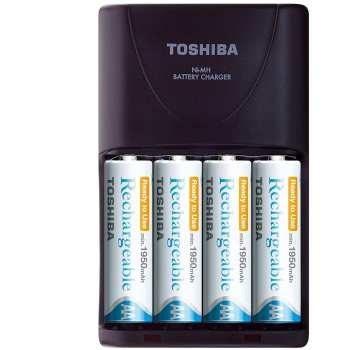تصویر شارژر باتری توشیبا مدل TNHC-VE 64MC به  همراه 4 عدد باتری قلمی
