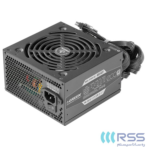 تصویر منبع تغذیه گرین مدل GP450A-ECO Rev3.1