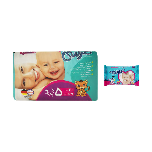تصویر پوشک مرسی پلاس سایز 5 بسته 30 عددی همراه دستمال مرطوب Merci Baby Diapers Size 5 Pack of 30 With wet wipes