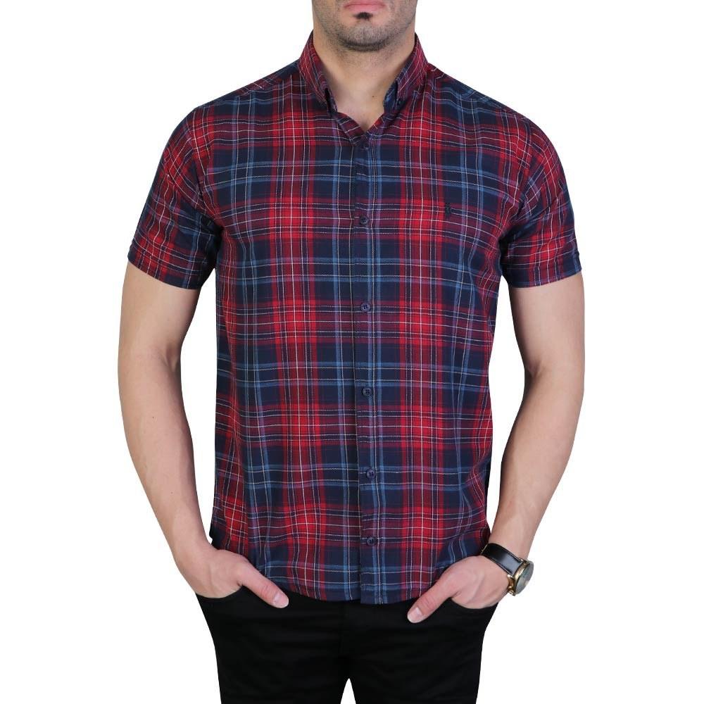 تصویر پیراهن مردانه آستین کوتاه چهارخانه پولو سرمه ای قرمز
