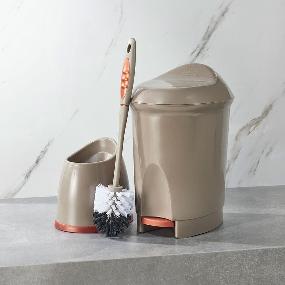 تصویر ست سطل و توالت شوی دلفین شامپاینی