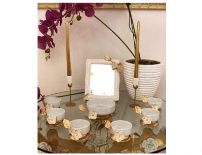 مجموعه ظروف هفت سین سرامیکی طرح کاسه برگ و گل