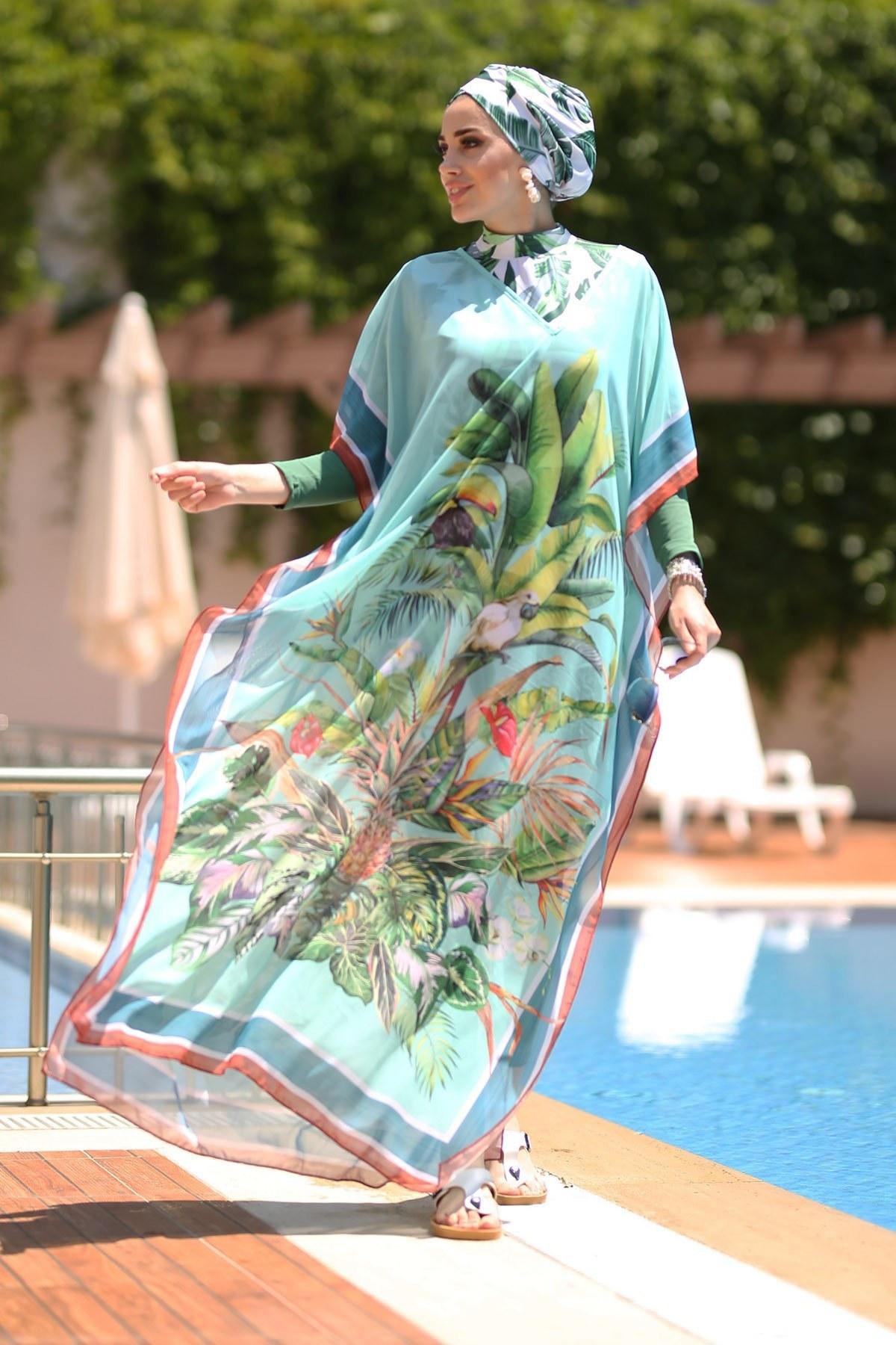 تصویر پیراهن ساحلی مایو اسلامی پوشیده خفاشی استوایی تک نفره طرحدار بروی برند Remsa Mayo کد 1622219117