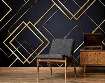 تصویر کاغذ دیواری مدرن مشکی طلایی طرح اشکال هندسی