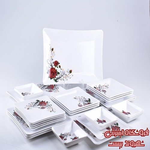 تصویر سرویس غذا خوری 26 پارچه ملامین ناز گل رز سرخ کدکالا 4129
