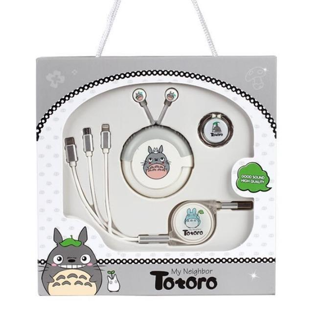 Totoro Gift Pack (3in1 Cable-Ring Holder-Handsfree) | پک هدیه فانتزی توتورو (کابل شارژ 3 خروجی - هولدر انگشتی - هندزفری)