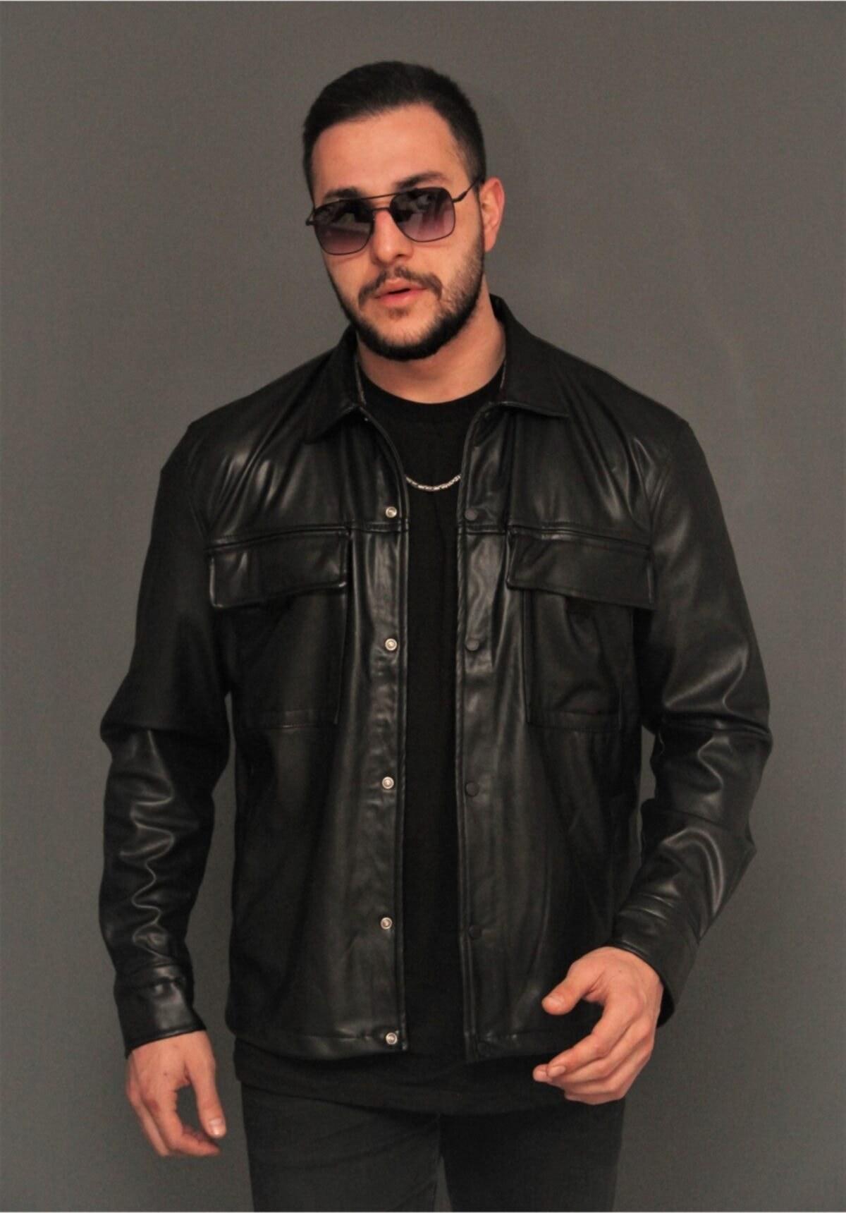 تصویر خرید اسان ژاکت چرم مردانه زیبا برند Bonissimo رنگ مشکی کد ty85081560