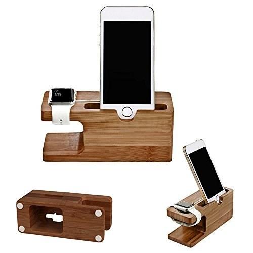 دانگل انتقال تصویر، شارژر موبایل و استند اپل واچ برند Gold Cherry ساخته شده از چوب بامبو، مناسب سری اپل.