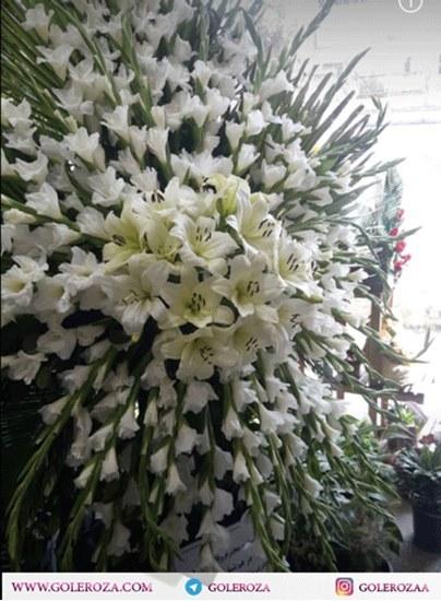 تصویر تاج گل ترحیم گلایل و لیلیوم رزا در کرج