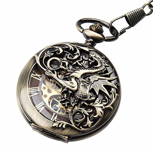 Men's Mechanical Steampunk Vintage Pocket Watch with Chain Roman Numerals Skeleton Pocket Watches with Gift Case for Mens Womens | Retro Pocket Watch for Men Women Double hunter Steampunk Skeleton Mechanical With Chain + Gift Box