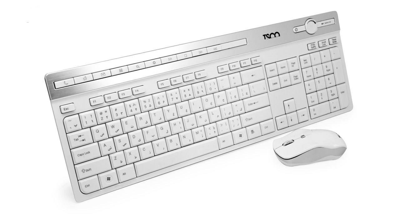 کیبورد و ماوس بی سیم تسکو مدل TKM7106W رنگ سفید