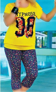 تی شرت شلوارک سایز بزرگ زنانه ترک -Suxe 4344  