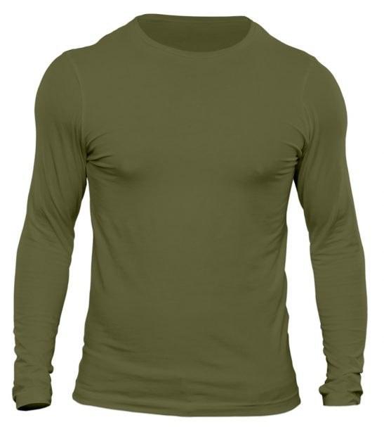 تیشرت آستین بلند مردانه رنگ سبز زیتونی