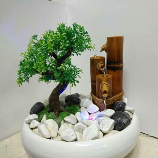 آب نمای رومیزی دست ساز بامبو با درختچه بونسای |
