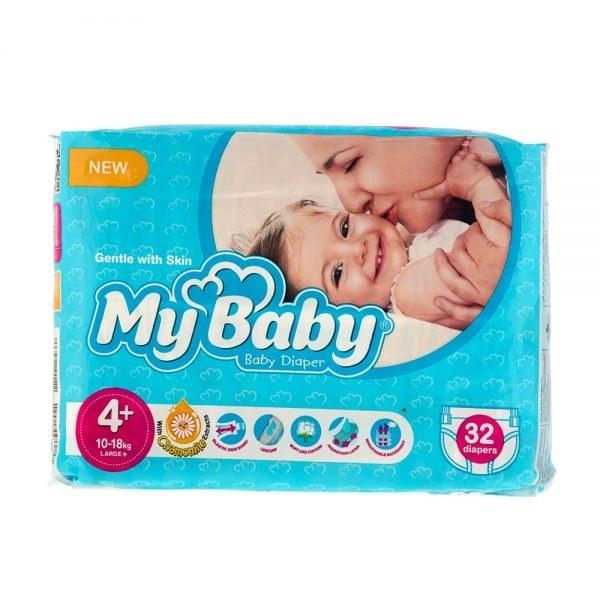 تصویر پوشک مای بیبی سری مهربان با پوست مدل Stretchy سایز 4Plus بسته 32 عددی ا My Baby Stretchy Size 4Plus Diaper Pack of 32 My Baby Stretchy Size 4Plus Diaper Pack of 32