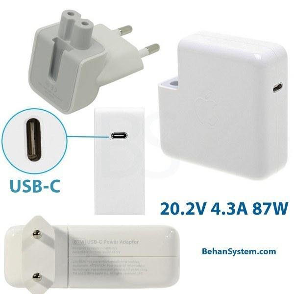 تصویر شارژر 87W USB-C مک بوک پرو رتینا 15 اینچ A1707 مدل MLH32 اورجینال