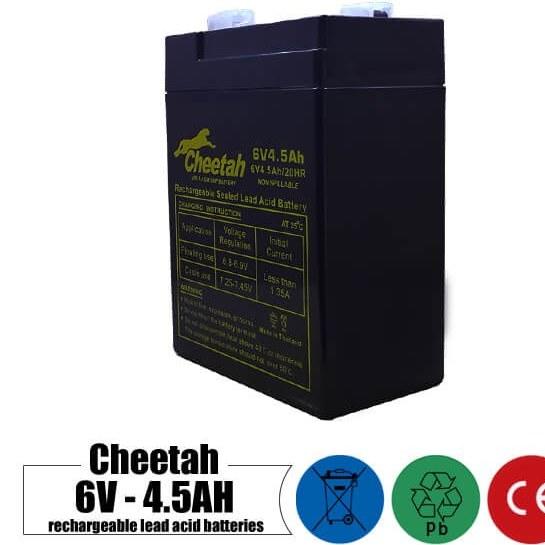 باتری شارژی 6 ولت 4.5 آمپر CHEETAH مدل 6V4.5Ah