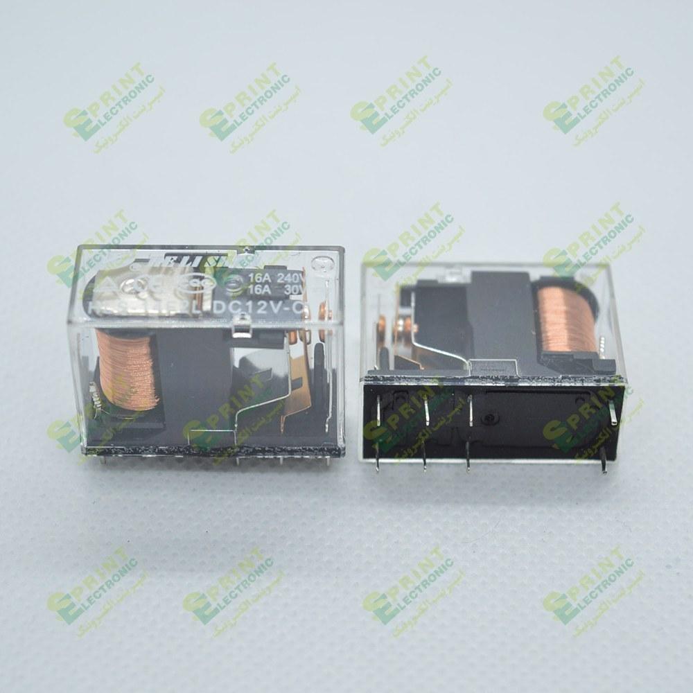 تصویر رله 12 ولت شیشه ای 8 پایه 16 آمپر HLS-14F2L-12VDC