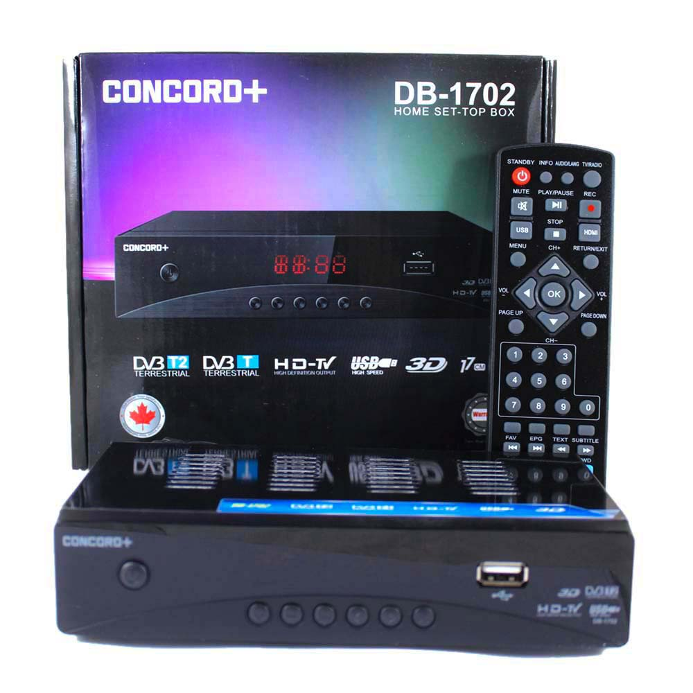 تصویر گیرنده دیجیتال کنکورد کوچک  Concord Plus DB-1702 mini Concord Plus DB-1702 Home Set-Top Box TV DVB-T2