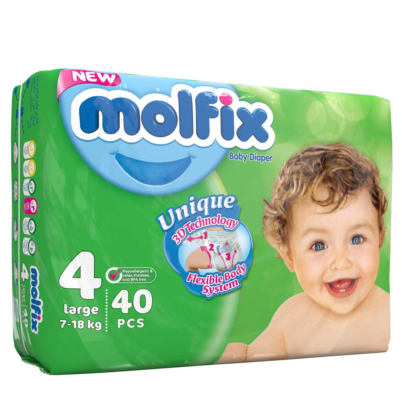 عکس پوشک مولفيکس مدل دوقلو سايز 4 بسته 40 عددي  پوشک-مولفیکس-مدل-دوقلو-سایز-4-بسته-40-عددی