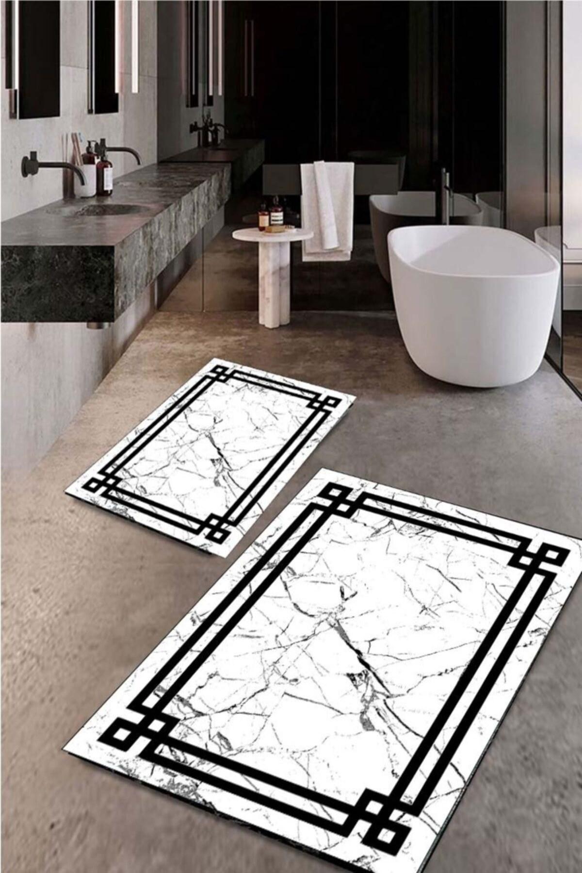 تصویر زیرپایی قابل شستشو حمام کف لیز نمیخورد مشکی 50x60cm 60x100cm برند Sare Halı کد 1628058612