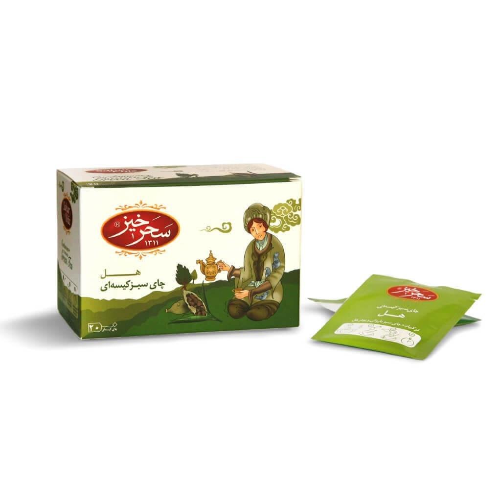 چای سبز کیسه ای با طعم هل