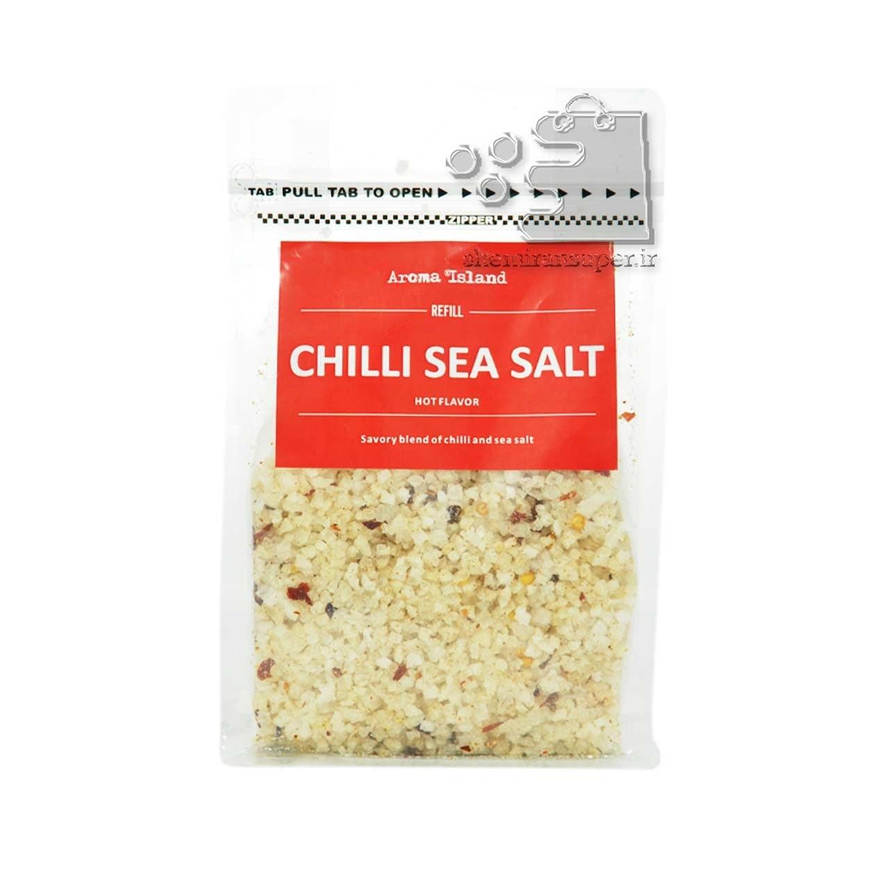 تصویر نمک دریا درشت و فلفل چیلی ۵۰۰ گرم – aroma island