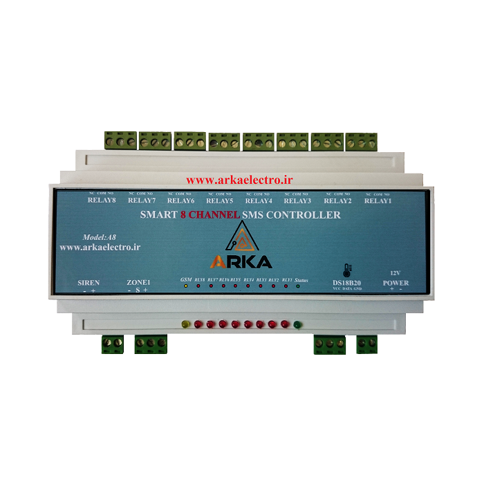 تصویر کنترلر پیامکی هوشمند 8 کانال+دزدگیر اماکن مدل ARKA A8