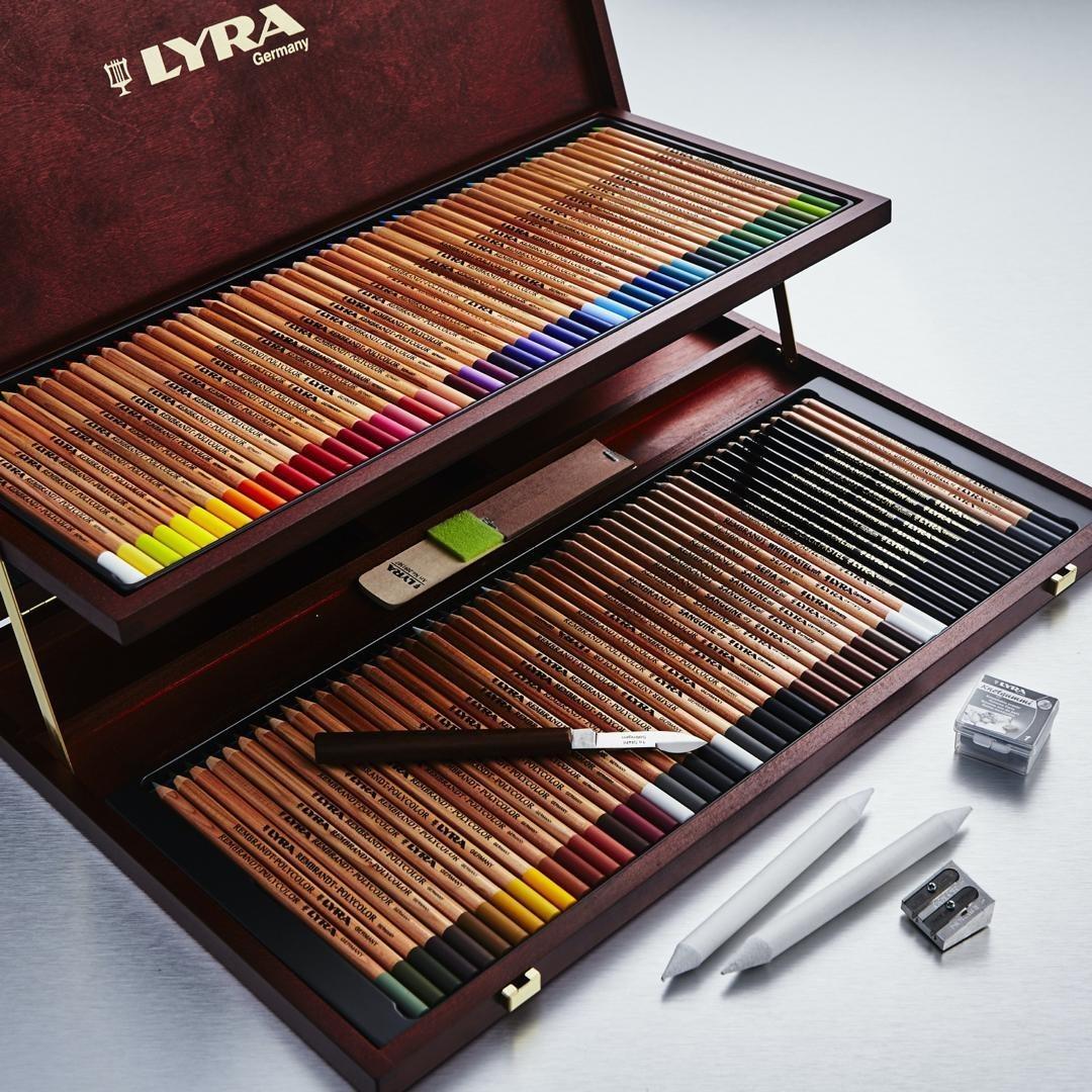 تصویر مداد رنگی 100 رنگ جعبه چوبی لیرا