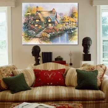 تابلو شاسی طرح نقاشی خانه روستایی مدل TA-1025 |