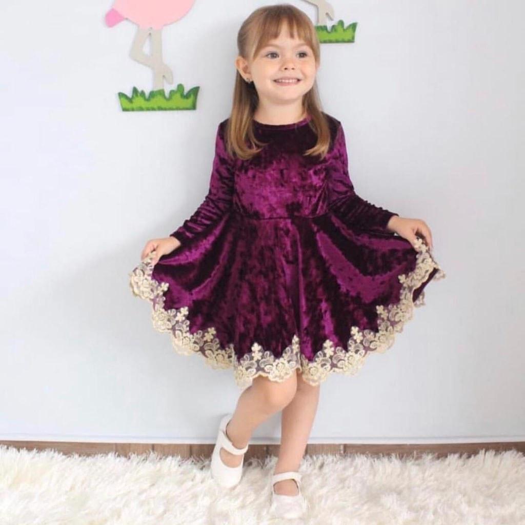 خرید آنلاین لباس مجلسی دخترانه مخمل ترک کد a1034 ارسال مستقیم پستی از استانبول