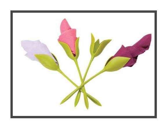 تصویر نگهدارنده دستمال سفره طرح گل رز بسته 6 عددی