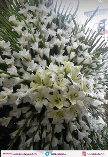 تصویر تاج گل ترحیم گلایل و لیلیوم رزا در تهران